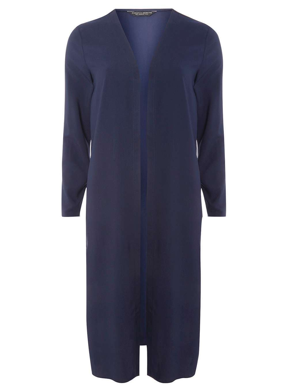 Womens Navy Maxi Cover Up Cardigan Blue - pattern: plain; neckline: collarless open; style: open front; predominant colour: navy; occasions: casual, work, creative work; length: calf length; fibres: polyester/polyamide - 100%; fit: loose; sleeve length: 3/4 length; sleeve style: standard; texture group: knits/crochet; pattern type: knitted - fine stitch; wardrobe: basic; season: a/w 2016
