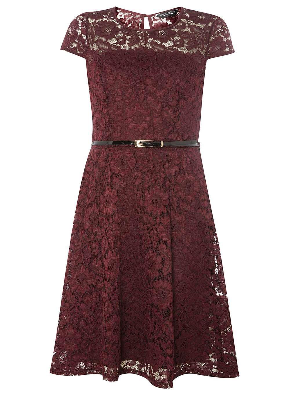 Womens Wine Lace Belted Fit And Flare Dress Wine - sleeve style: capped; pattern: plain; bust detail: sheer at bust; predominant colour: burgundy; occasions: evening; length: on the knee; fit: fitted at waist & bust; style: fit & flare; fibres: polyester/polyamide - 100%; neckline: crew; sleeve length: short sleeve; texture group: lace; pattern type: fabric; shoulder detail: sheer at shoulder; season: a/w 2016; wardrobe: event