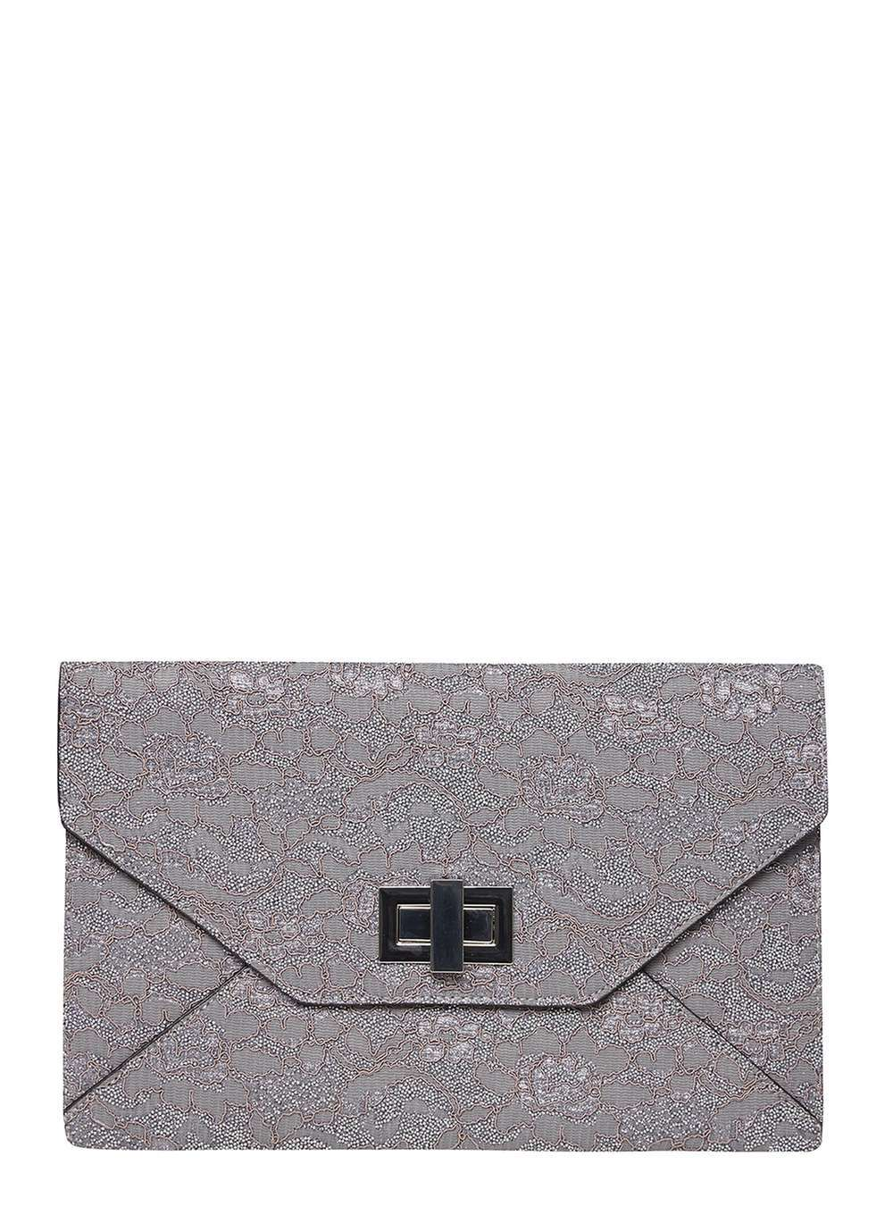 Womens Grey Lace Twist Lock Clutch Bag Grey - predominant colour: light grey; occasions: evening, occasion; type of pattern: standard; style: clutch; length: hand carry; size: standard; material: faux leather; finish: plain; pattern: patterned/print; season: a/w 2016; wardrobe: event