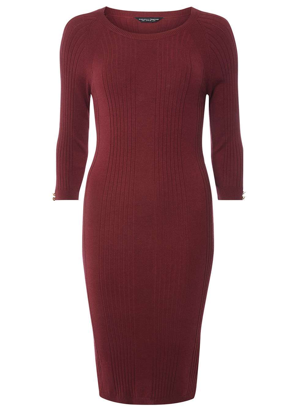 Womens Berry Rib Detail Midi Dress Red - fit: tight; pattern: plain; style: bodycon; predominant colour: burgundy; occasions: evening; length: on the knee; fibres: viscose/rayon - stretch; neckline: crew; sleeve length: 3/4 length; sleeve style: standard; texture group: jersey - clingy; pattern type: fabric; season: a/w 2016; wardrobe: event