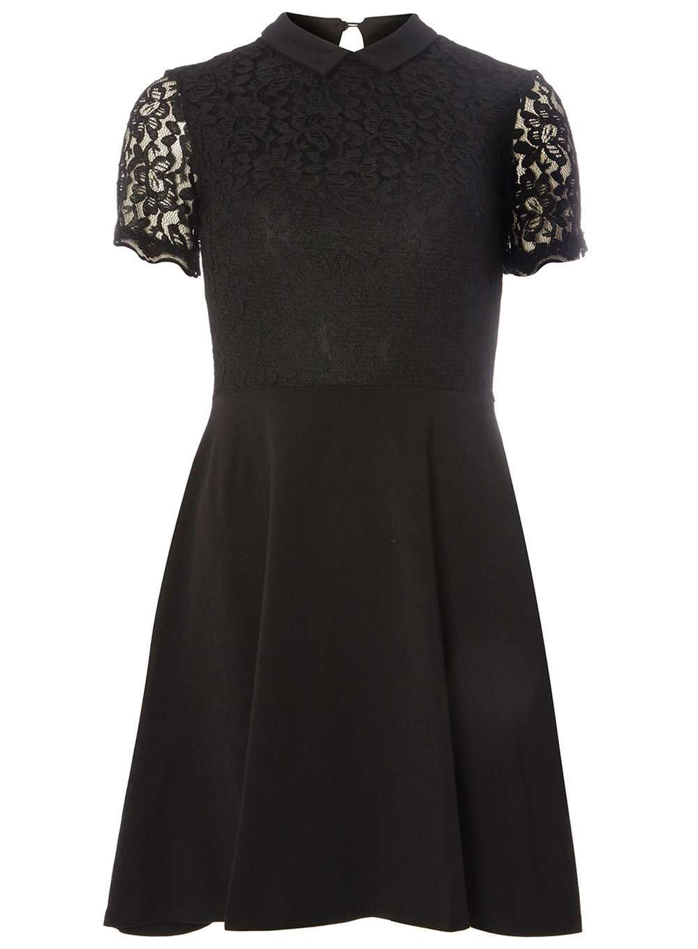 Womens Black Lace Collar Dress Black - pattern: plain; neckline: high neck; predominant colour: black; occasions: evening; length: just above the knee; fit: fitted at waist & bust; style: fit & flare; fibres: cotton - stretch; back detail: keyhole/peephole detail at back; sleeve length: short sleeve; sleeve style: standard; pattern type: fabric; texture group: jersey - stretchy/drapey; embellishment: lace; season: a/w 2016; wardrobe: event; embellishment location: bust, sleeve/cuff