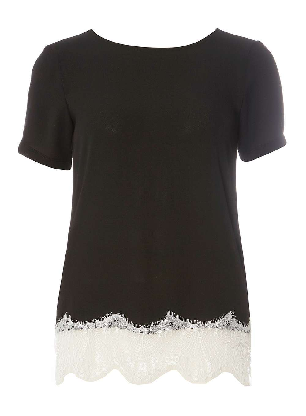 Womens Black And Ivory Woven Lace Tee Black - neckline: round neck; pattern: plain; style: t-shirt; secondary colour: ivory/cream; predominant colour: black; occasions: work, creative work; length: standard; fibres: polyester/polyamide - 100%; fit: body skimming; sleeve length: short sleeve; sleeve style: standard; pattern type: fabric; texture group: jersey - stretchy/drapey; embellishment: lace; season: a/w 2016; wardrobe: highlight