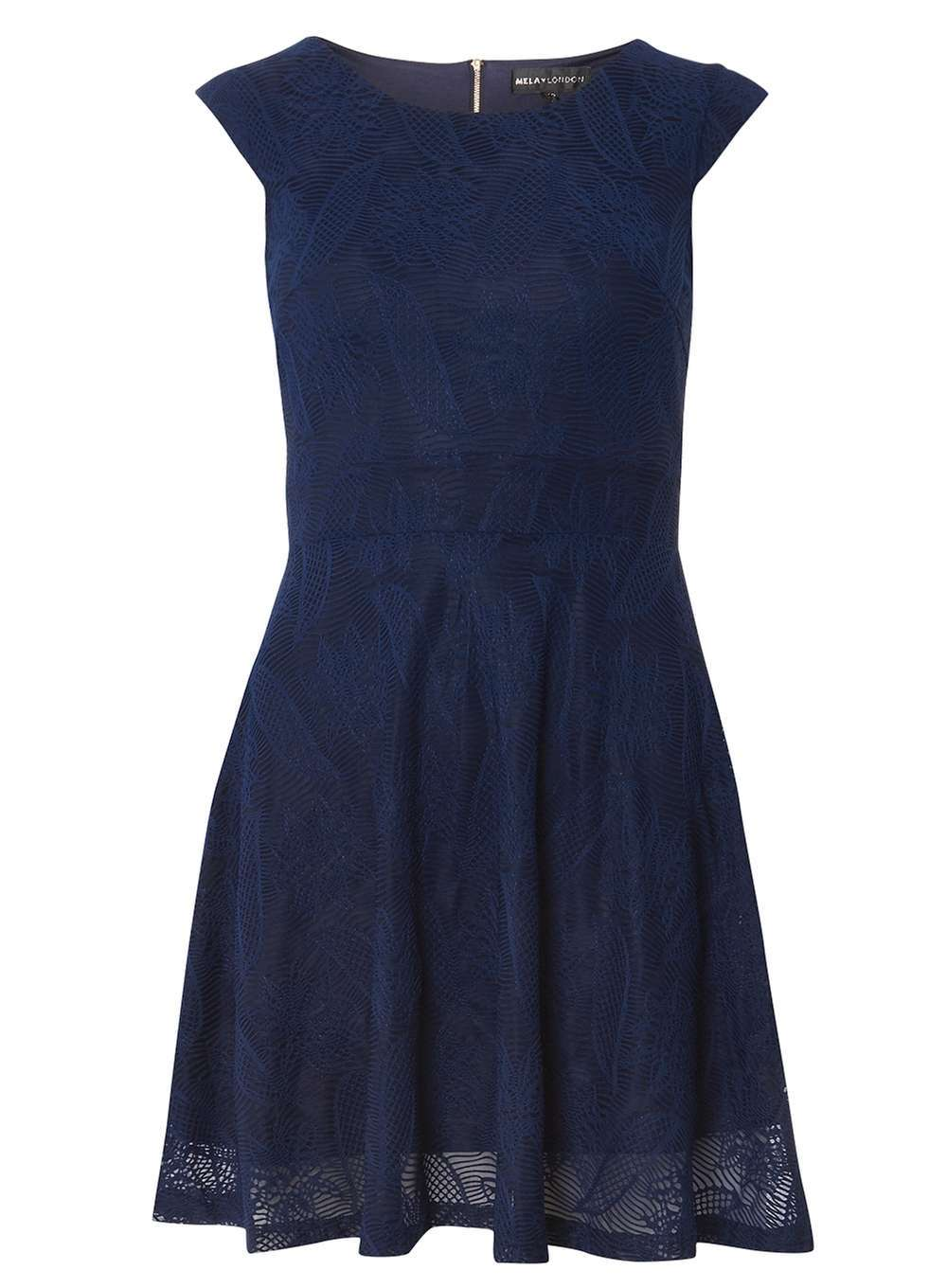Womens **Mela Navy Lace Tie Back Dress Blue - sleeve style: capped; pattern: plain; predominant colour: navy; occasions: evening; length: just above the knee; fit: fitted at waist & bust; style: fit & flare; fibres: polyester/polyamide - stretch; neckline: crew; sleeve length: short sleeve; pattern type: fabric; texture group: jersey - stretchy/drapey; season: a/w 2016; wardrobe: event