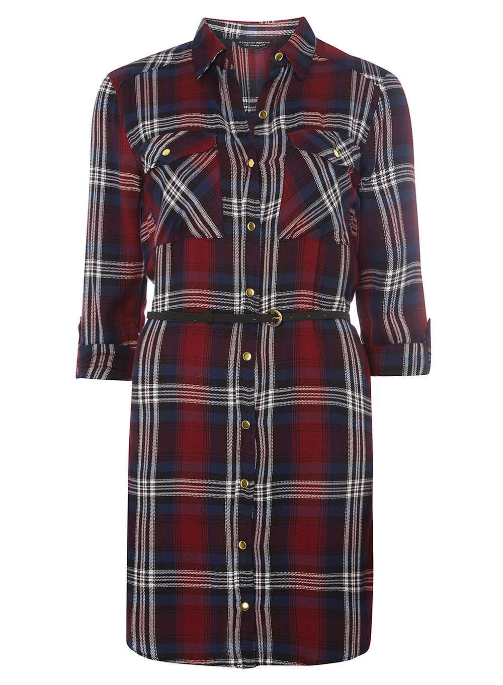 Womens Red Check Belted Shirt Dress Red - style: shirt; neckline: shirt collar/peter pan/zip with opening; pattern: checked/gingham; waist detail: belted waist/tie at waist/drawstring; secondary colour: white; predominant colour: burgundy; occasions: casual; length: just above the knee; fit: body skimming; fibres: viscose/rayon - 100%; sleeve length: 3/4 length; sleeve style: standard; pattern type: fabric; texture group: jersey - stretchy/drapey; multicoloured: multicoloured; season: a/w 2016; wardrobe: highlight