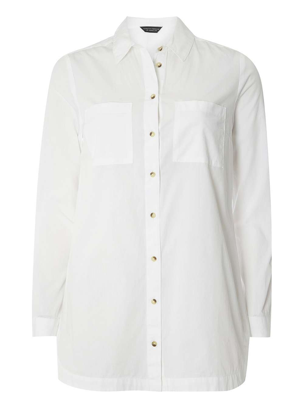 Womens White Longline Poplin Shirt White - neckline: shirt collar/peter pan/zip with opening; pattern: plain; length: below the bottom; style: shirt; predominant colour: white; occasions: casual, work, creative work; fibres: cotton - 100%; fit: body skimming; sleeve length: long sleeve; sleeve style: standard; texture group: cotton feel fabrics; pattern type: fabric; wardrobe: basic; season: a/w 2016