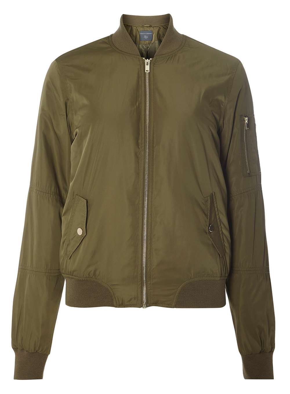 Womens **Tall Khaki Bomber Jacket Khaki - pattern: plain; collar: round collar/collarless; fit: slim fit; style: bomber; predominant colour: khaki; occasions: casual, creative work; length: standard; fibres: polyester/polyamide - 100%; sleeve length: long sleeve; sleeve style: standard; texture group: technical outdoor fabrics; collar break: high; pattern type: fabric; wardrobe: basic; season: a/w 2016