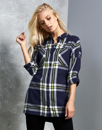 Long Sleeve Oversize Check Shirt - neckline: shirt collar/peter pan/zip with opening; pattern: checked/gingham; style: shirt; secondary colour: white; predominant colour: navy; occasions: casual; length: standard; fibres: cotton - 100%; fit: body skimming; sleeve length: long sleeve; sleeve style: standard; texture group: cotton feel fabrics; pattern type: fabric; multicoloured: multicoloured; season: a/w 2016; wardrobe: highlight