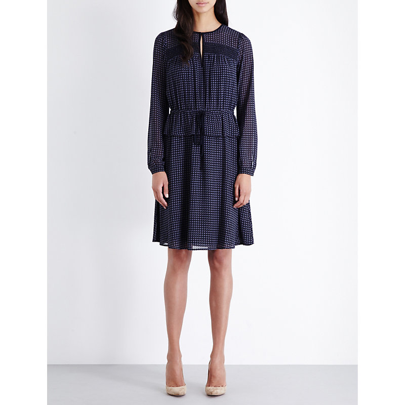 Charlton Chiffon Dress, Women's, New Navy - pattern: plain; predominant colour: navy; occasions: evening; length: just above the knee; fit: fitted at waist & bust; style: fit & flare; neckline: peep hole neckline; fibres: polyester/polyamide - 100%; sleeve length: long sleeve; sleeve style: standard; texture group: sheer fabrics/chiffon/organza etc.; pattern type: fabric; season: a/w 2016; wardrobe: event