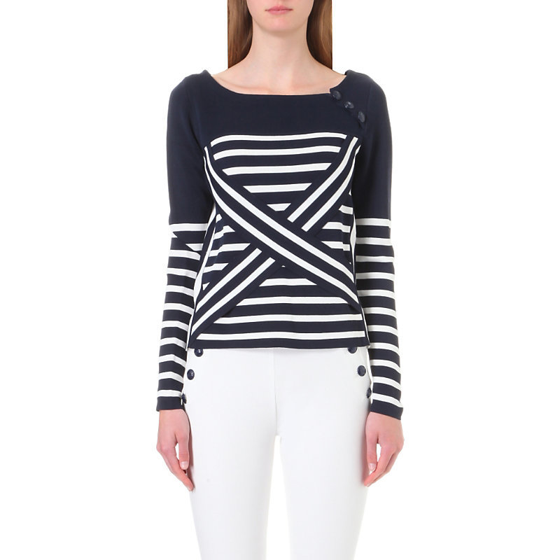 Tommy X Gigi Technical Striped Jumper, Women's, Size: Xs, Navy Blazer/Snow White - pattern: horizontal stripes; style: standard; predominant colour: navy; occasions: casual, creative work; length: standard; fit: slim fit; sleeve length: long sleeve; sleeve style: standard; texture group: knits/crochet; neckline: low square neck; pattern type: knitted - fine stitch; fibres: viscose/rayon - mix; pattern size: big & busy (top); season: a/w 2016