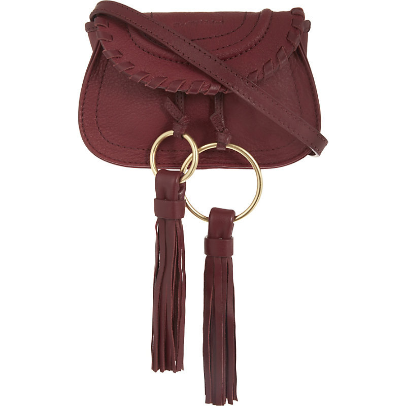 Polly Leather Belt Bag, Women's, Purple - predominant colour: burgundy; occasions: casual, creative work; type of pattern: standard; style: messenger; length: shoulder (tucks under arm); size: small; material: suede; embellishment: tassels; pattern: plain; finish: plain; season: a/w 2016; wardrobe: highlight