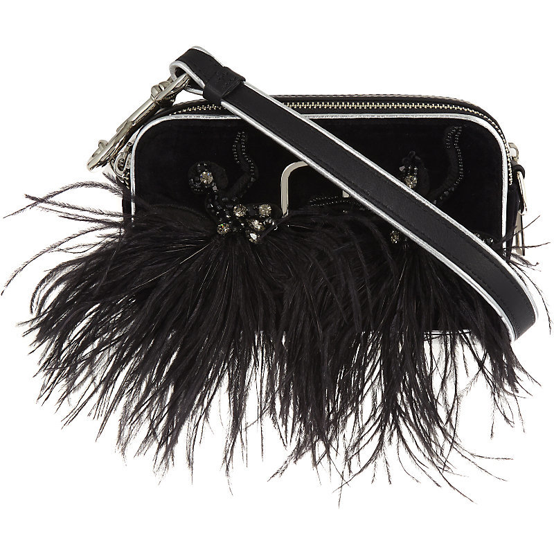 Snapshot Velvet Small Camera Bag, Women's, Black - secondary colour: white; predominant colour: black; occasions: casual, evening; type of pattern: light; style: shoulder; length: shoulder (tucks under arm); size: small; material: fabric; embellishment: feathers; finish: plain; pattern: colourblock; season: a/w 2016; wardrobe: highlight