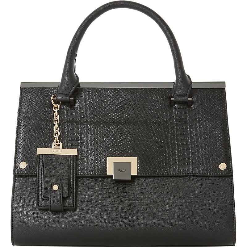 Donovan Faux Leather Flap Over Bag, Women's, Black Plain Synthetic - predominant colour: black; occasions: casual, work, creative work; type of pattern: standard; style: tote; length: handle; size: standard; material: faux leather; pattern: plain; finish: plain; wardrobe: investment; season: a/w 2016