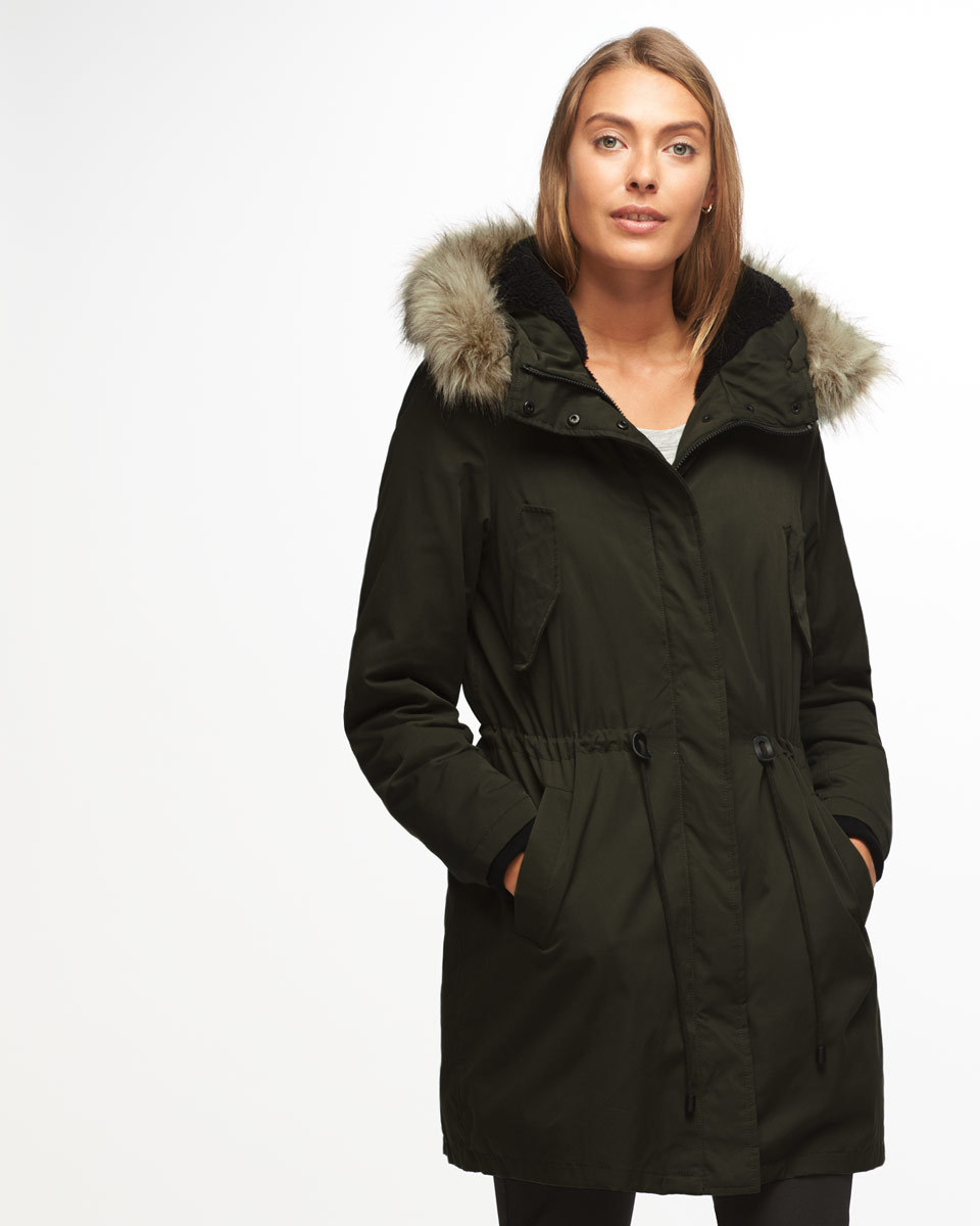 Parka - pattern: plain; collar: funnel; fit: loose; style: parka; back detail: hood; length: mid thigh; predominant colour: black; occasions: casual; fibres: cotton - mix; sleeve length: long sleeve; sleeve style: standard; texture group: technical outdoor fabrics; collar break: high; pattern type: fabric; wardrobe: basic; season: a/w 2016