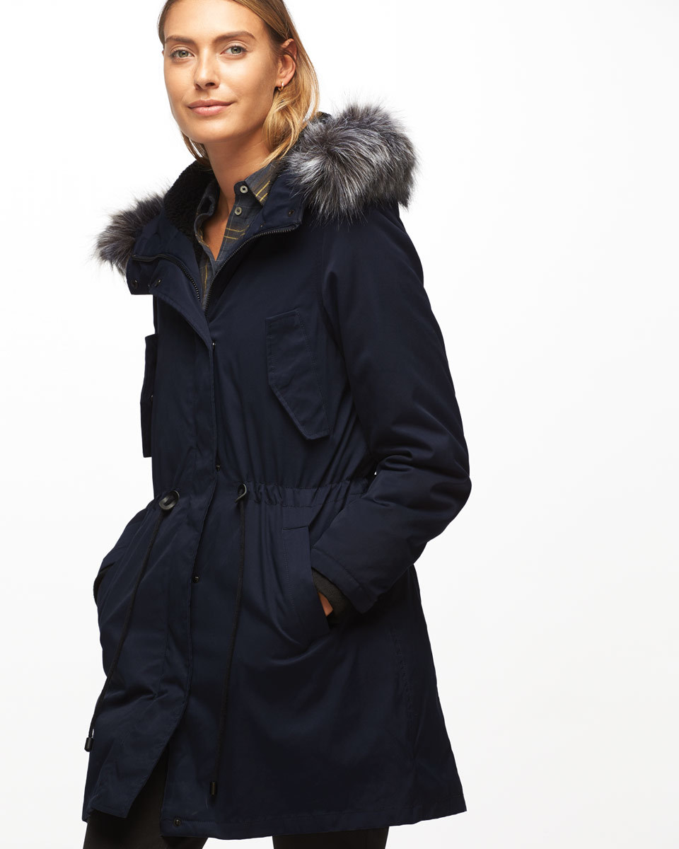 Parka - pattern: plain; collar: funnel; style: parka; length: mid thigh; predominant colour: navy; occasions: casual; fit: straight cut (boxy); fibres: cotton - mix; sleeve length: long sleeve; sleeve style: standard; collar break: high; pattern type: fabric; texture group: woven bulky/heavy; wardrobe: basic; season: a/w 2016