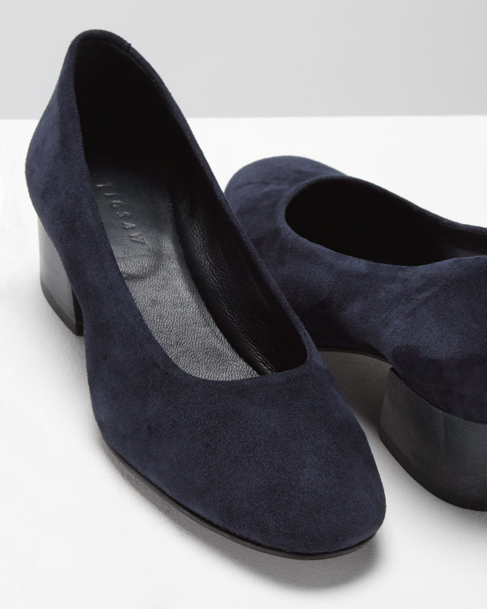 Mila Court Shoe - predominant colour: black; occasions: work, creative work; material: suede; heel height: mid; heel: block; toe: round toe; style: courts; finish: plain; pattern: plain; wardrobe: investment; season: a/w 2016