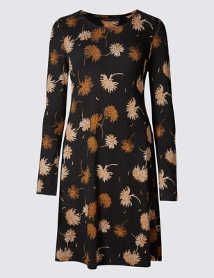 Chrysanthemum Print Long Sleeve Swing Dress - style: tunic; length: mid thigh; secondary colour: tan; predominant colour: black; occasions: casual, creative work; fit: soft a-line; fibres: viscose/rayon - stretch; neckline: crew; hip detail: soft pleats at hip/draping at hip/flared at hip; sleeve length: long sleeve; sleeve style: standard; pattern type: fabric; pattern size: standard; pattern: florals; texture group: jersey - stretchy/drapey; multicoloured: multicoloured; season: a/w 2016; wardrobe: highlight