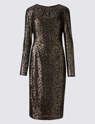 Sequin Lined Long Sleeve Bodycon Dress - style: shift; fit: tailored/fitted; predominant colour: bronze; occasions: evening; length: on the knee; fibres: polyester/polyamide - 100%; neckline: crew; sleeve length: long sleeve; sleeve style: standard; pattern type: fabric; pattern size: standard; pattern: patterned/print; texture group: other - light to midweight; embellishment: sequins; season: a/w 2016; wardrobe: event; trends: metallics