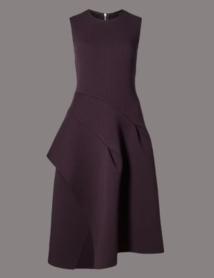Bold Sculptural Fit & Flare Dress - pattern: plain; sleeve style: sleeveless; waist detail: fitted waist; predominant colour: aubergine; occasions: evening, occasion; length: on the knee; fit: fitted at waist & bust; style: fit & flare; fibres: polyester/polyamide - stretch; neckline: crew; hip detail: adds bulk at the hips; sleeve length: sleeveless; texture group: crepes; pattern type: fabric; season: a/w 2016; wardrobe: event; trends: metropolis