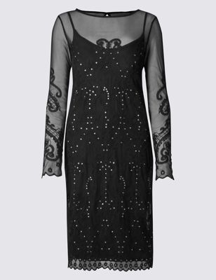 Embroidered Mesh Bodycon Dress - style: shift; neckline: slash/boat neckline; hip detail: draws attention to hips; predominant colour: black; occasions: evening; length: on the knee; fit: body skimming; fibres: viscose/rayon - stretch; sleeve length: long sleeve; sleeve style: standard; texture group: lace; pattern type: fabric; pattern size: standard; pattern: patterned/print; embellishment: embroidered; shoulder detail: sheer at shoulder; season: a/w 2016; wardrobe: event; embellishment location: pattern