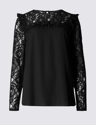 Ruffle Lace Long Sleeve Blouse - style: blouse; predominant colour: black; occasions: casual, creative work; length: standard; fibres: polyester/polyamide - 100%; fit: straight cut; neckline: crew; sleeve length: long sleeve; sleeve style: standard; texture group: lace; pattern type: fabric; pattern: patterned/print; embellishment: lace; shoulder detail: sheer at shoulder; season: a/w 2016; wardrobe: highlight