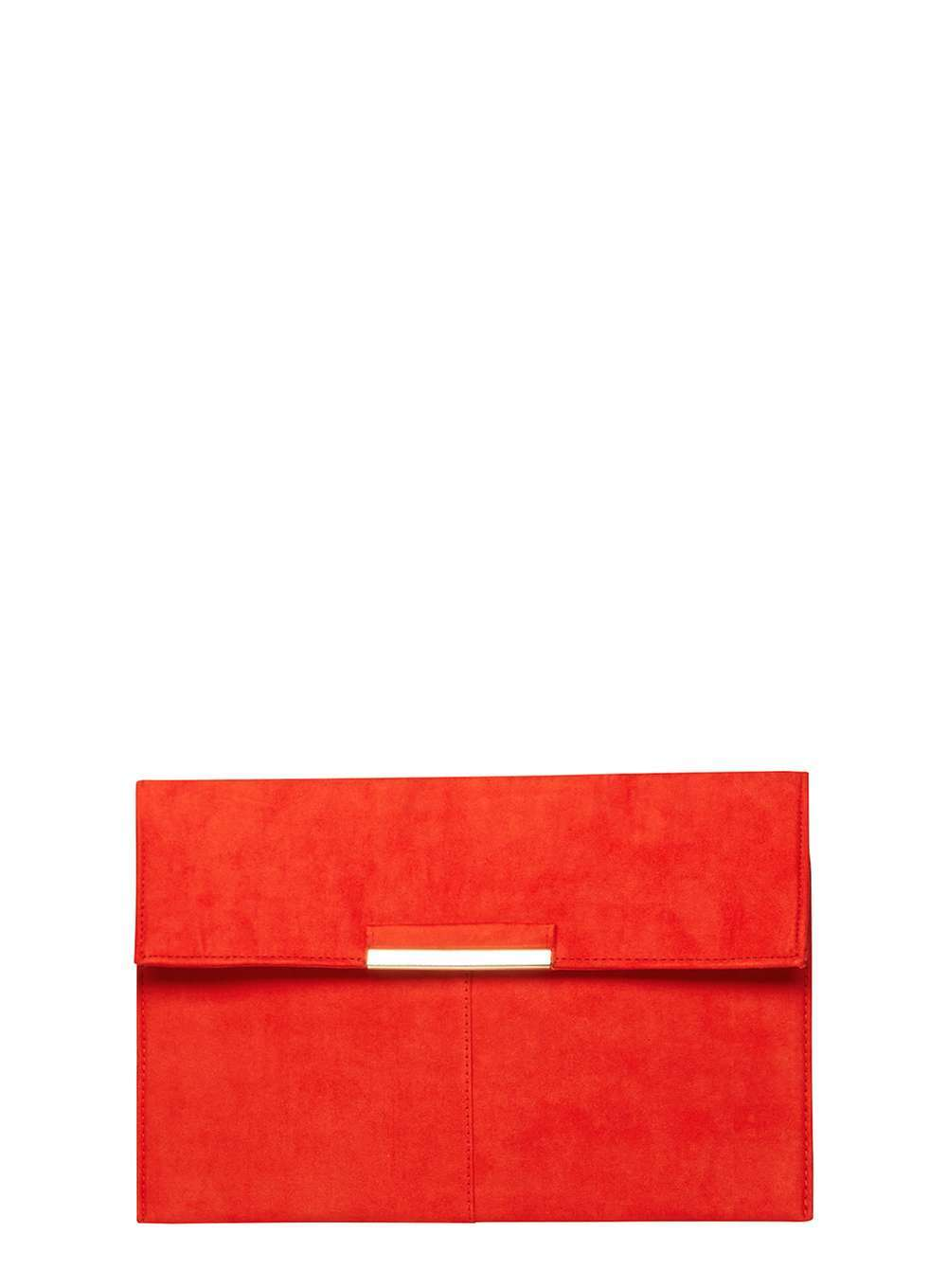 Womens Red Faux Suede Tab Clutch Bag Red - predominant colour: bright orange; occasions: evening, occasion; type of pattern: standard; style: clutch; length: hand carry; size: standard; pattern: plain; finish: plain; material: faux suede; season: a/w 2016; wardrobe: event