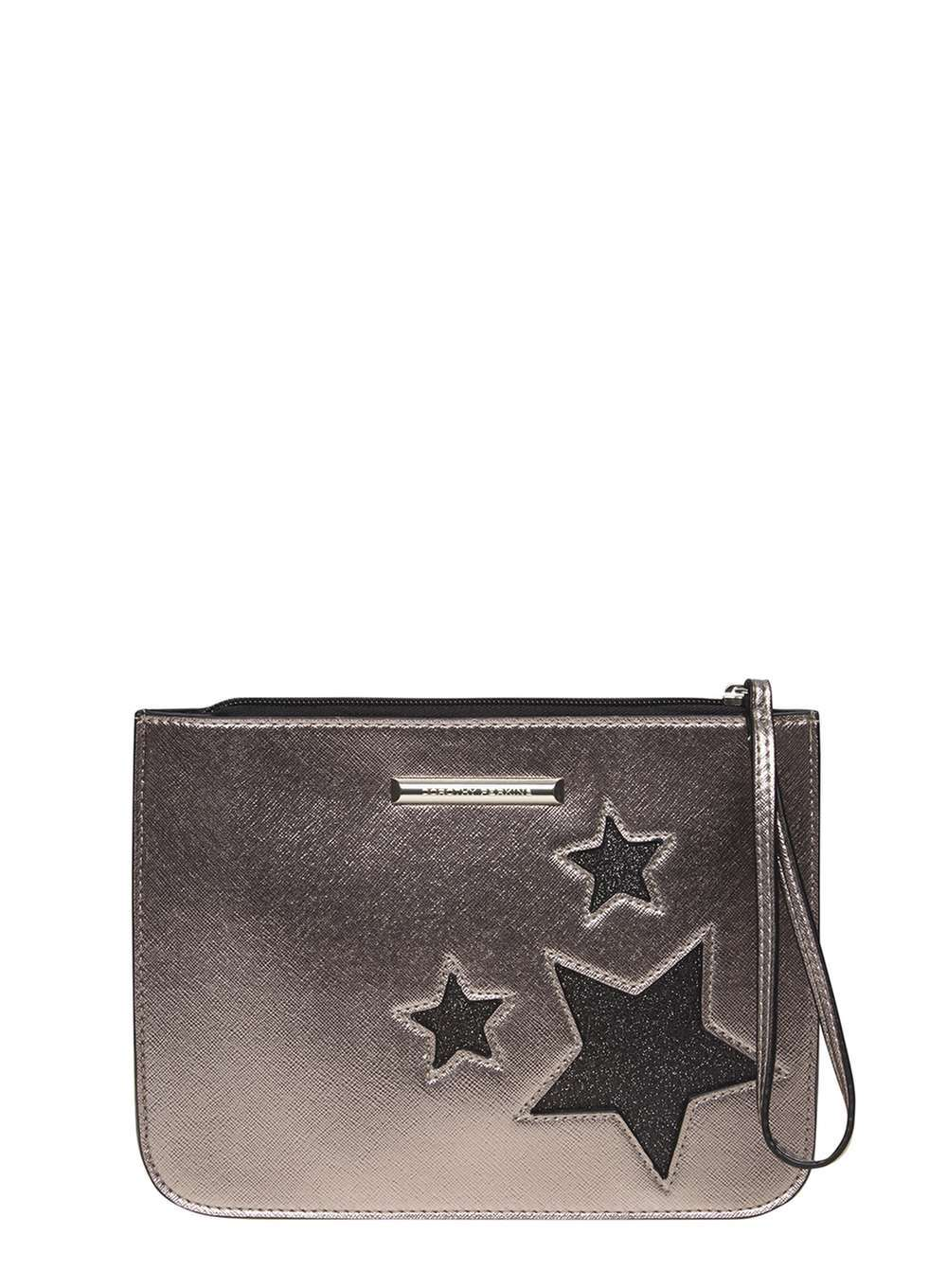 Womens Silver Star Wristlet Clutch Bag Grey - predominant colour: silver; secondary colour: black; occasions: evening; type of pattern: standard; style: clutch; length: hand carry; size: standard; material: faux leather; pattern: plain; finish: metallic; season: a/w 2016; wardrobe: event