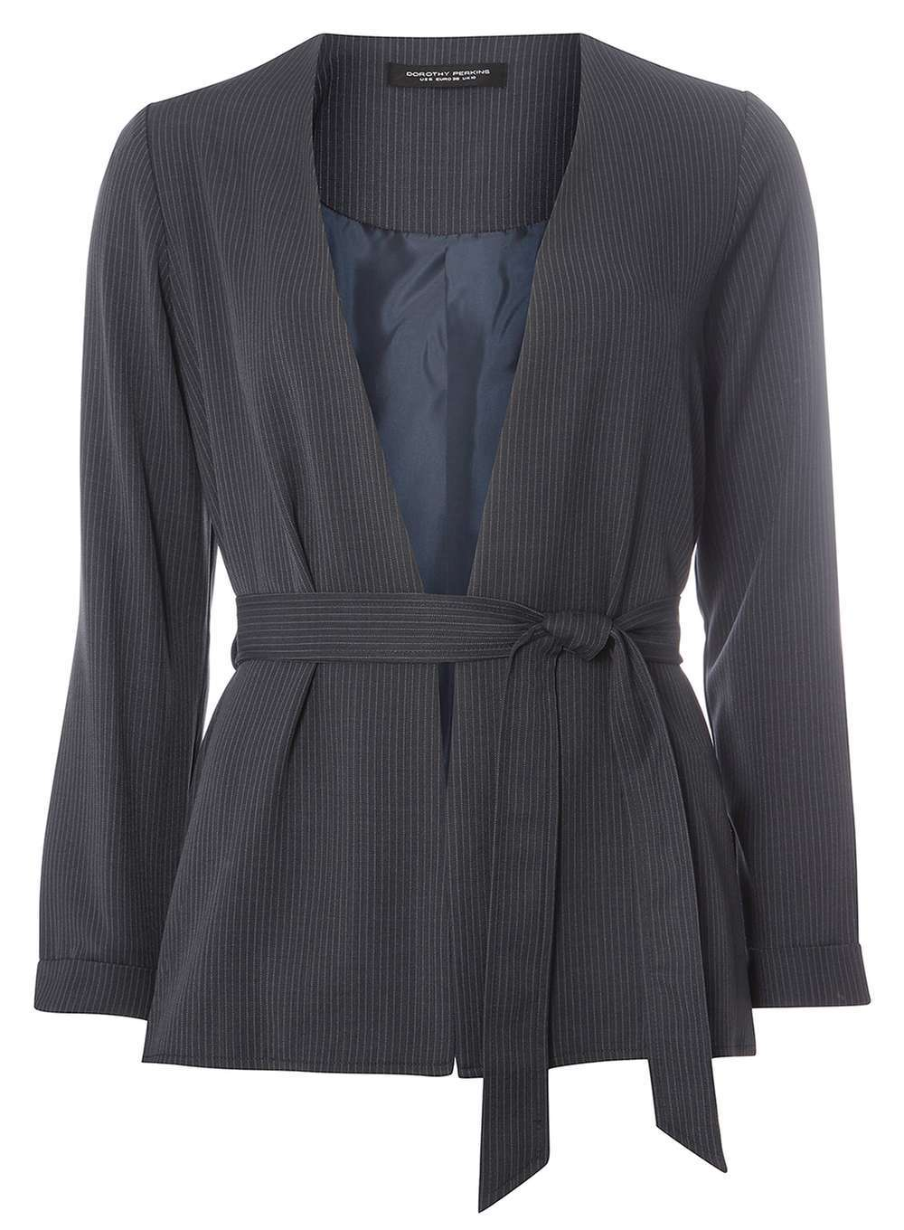 Womens Navy Pinstripe Jacket Navy - pattern: plain; style: belted jacket; collar: standard lapel/rever collar; predominant colour: navy; occasions: work; length: standard; fit: tailored/fitted; fibres: polyester/polyamide - 100%; waist detail: belted waist/tie at waist/drawstring; sleeve length: long sleeve; sleeve style: standard; collar break: medium; pattern type: fabric; texture group: woven light midweight; wardrobe: investment; season: a/w 2016
