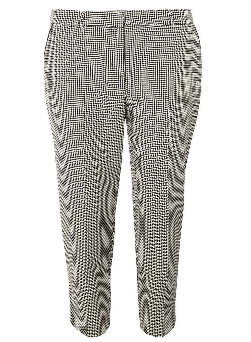 Womens Petite Dogtooth Straight Leg Trousers Grey - pattern: plain; hip detail: draws attention to hips; waist: mid/regular rise; predominant colour: mid grey; occasions: casual, creative work; length: ankle length; fibres: polyester/polyamide - mix; fit: straight leg; pattern type: fabric; texture group: woven light midweight; style: standard; wardrobe: basic; season: a/w 2016