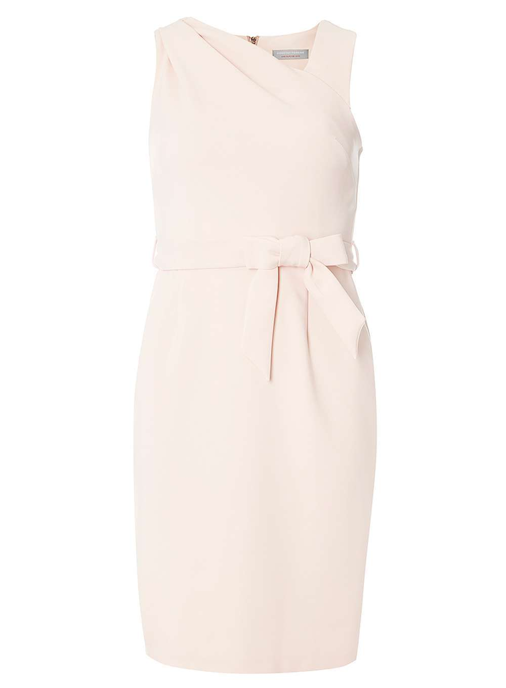 Womens Petite Blush Belted Dress Pink - style: shift; length: below the knee; fit: tailored/fitted; pattern: plain; sleeve style: sleeveless; neckline: asymmetric; hip detail: fitted at hip; waist detail: belted waist/tie at waist/drawstring; predominant colour: blush; occasions: evening; fibres: polyester/polyamide - stretch; sleeve length: sleeveless; pattern type: fabric; texture group: woven light midweight; season: a/w 2016
