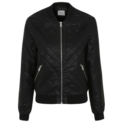 Quilted Faux Leather Bomber Jacket Black - pattern: plain; collar: round collar/collarless; style: bomber; predominant colour: black; occasions: casual, creative work; length: standard; fit: straight cut (boxy); fibres: polyester/polyamide - 100%; sleeve length: long sleeve; sleeve style: standard; texture group: leather; collar break: high; pattern type: fabric; embellishment: quilted; season: a/w 2016; wardrobe: highlight