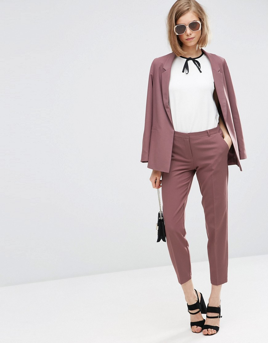 Ankle Grazer Cigarette Trousers In Crepe Dusky Berry - pattern: plain; waist: high rise; length: ankle length; fibres: polyester/polyamide - 100%; texture group: crepes; fit: slim leg; pattern type: fabric; style: standard; predominant colour: dusky pink; occasions: creative work; season: a/w 2016; wardrobe: highlight