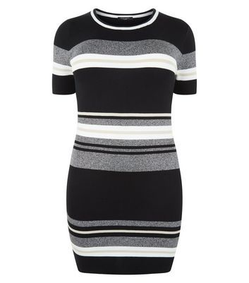 Curves Black Stripe Knitted Dress - pattern: horizontal stripes; style: bodycon; secondary colour: mid grey; predominant colour: black; occasions: casual; length: just above the knee; fit: body skimming; neckline: crew; sleeve length: short sleeve; sleeve style: standard; texture group: knits/crochet; pattern type: knitted - fine stitch; fibres: viscose/rayon - mix; multicoloured: multicoloured; wardrobe: basic; season: a/w 2016