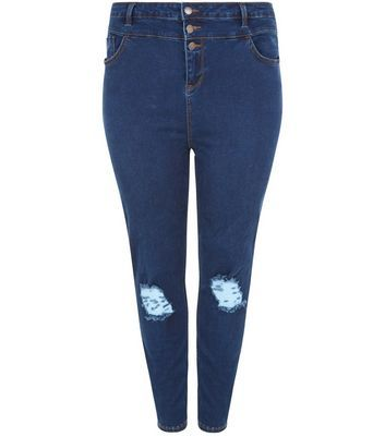 Curves Blue High Waisted Ripped Knee Skinny Jeans - style: skinny leg; length: standard; pattern: plain; waist: high rise; pocket detail: traditional 5 pocket; predominant colour: navy; occasions: casual; fibres: cotton - stretch; texture group: denim; pattern type: fabric; jeans detail: rips; wardrobe: basic; season: a/w 2016