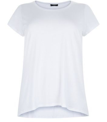Curves White T Shirt - pattern: plain; style: t-shirt; predominant colour: white; occasions: casual; length: standard; fibres: cotton - 100%; fit: body skimming; neckline: crew; sleeve length: short sleeve; sleeve style: standard; pattern type: fabric; texture group: jersey - stretchy/drapey; season: a/w 2016