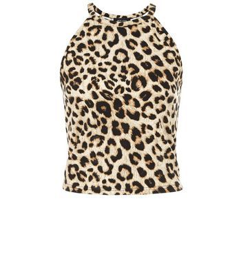 Brown Animal Print Cami Crop Top - sleeve style: sleeveless; length: cropped; predominant colour: nude; secondary colour: black; occasions: evening; style: top; fibres: cotton - mix; fit: tight; neckline: crew; sleeve length: sleeveless; pattern type: fabric; pattern: animal print; texture group: jersey - stretchy/drapey; pattern size: big & busy (top); multicoloured: multicoloured; season: a/w 2016; wardrobe: event