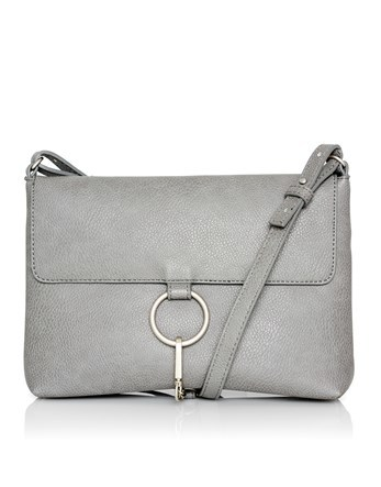 Ring Clasp Cross Body Bag - predominant colour: light grey; occasions: casual, creative work; type of pattern: standard; style: shoulder; length: across body/long; size: standard; material: faux leather; pattern: plain; finish: plain; wardrobe: investment; season: a/w 2016