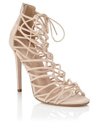 Tie Up Sandals - predominant colour: nude; occasions: evening; material: faux leather; ankle detail: ankle tie; heel: stiletto; toe: open toe/peeptoe; style: strappy; finish: plain; pattern: plain; heel height: very high; season: a/w 2016; wardrobe: event
