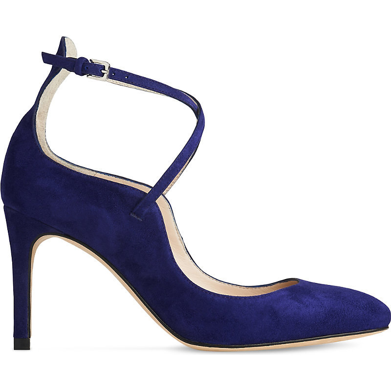 Melinda Criss Cross Strap Suede Courts, Women's, Eur 39 / 6 Uk Women, Pur Ultra Violet - predominant colour: navy; occasions: evening, occasion; material: suede; heel height: high; ankle detail: ankle strap; heel: stiletto; toe: pointed toe; style: courts; finish: plain; pattern: plain; season: a/w 2016; wardrobe: event