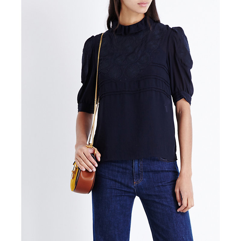 High Neck Ruffled Chiffon Top, Women's, Blue - sleeve style: puffed; pattern: plain; neckline: high neck; bust detail: ruching/gathering/draping/layers/pintuck pleats at bust; predominant colour: navy; occasions: casual, work, creative work; length: standard; style: top; fibres: polyester/polyamide - mix; fit: body skimming; sleeve length: half sleeve; texture group: sheer fabrics/chiffon/organza etc.; pattern type: fabric; season: a/w 2016