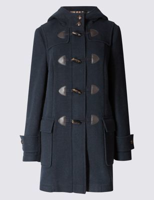 Duffle Hooded Coat - pattern: plain; bust detail: added detail/embellishment at bust; collar: funnel; style: duffle coat; hip detail: fitted at hip; length: mid thigh; predominant colour: navy; occasions: casual; fit: straight cut (boxy); fibres: polyester/polyamide - 100%; sleeve length: long sleeve; sleeve style: standard; collar break: high; pattern type: fabric; pattern size: standard; texture group: woven light midweight; season: a/w 2016; wardrobe: highlight