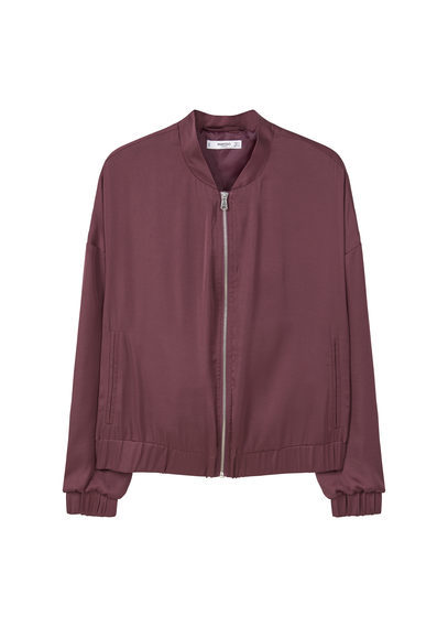 Satin Bomber Jacket - pattern: plain; collar: round collar/collarless; style: bomber; predominant colour: aubergine; occasions: casual, creative work; length: standard; fit: straight cut (boxy); fibres: polyester/polyamide - 100%; sleeve length: long sleeve; sleeve style: standard; collar break: high; pattern type: fabric; texture group: other - light to midweight; season: a/w 2016