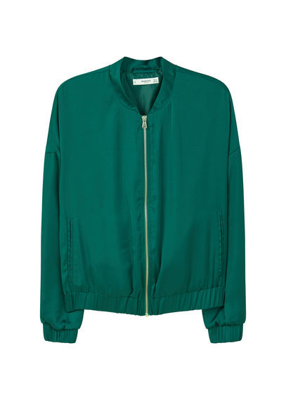 Satin Bomber Jacket - pattern: plain; collar: round collar/collarless; style: bomber; predominant colour: teal; occasions: casual, creative work; length: standard; fit: straight cut (boxy); fibres: polyester/polyamide - 100%; sleeve length: long sleeve; sleeve style: standard; collar break: high; pattern type: fabric; texture group: other - light to midweight; season: a/w 2016; wardrobe: highlight