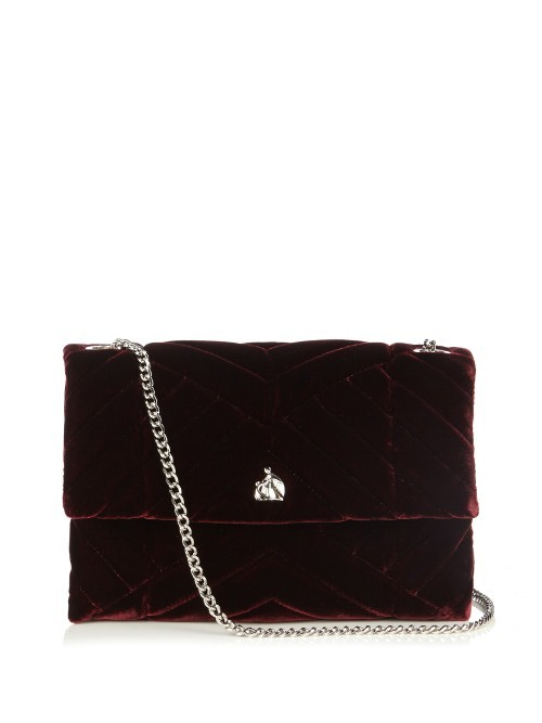 Mini Sugar Quilted Velvet Cross Body Bag - predominant colour: burgundy; type of pattern: light; style: shoulder; length: across body/long; size: small; material: velvet; embellishment: quilted; pattern: plain; finish: plain; occasions: creative work; season: a/w 2016; wardrobe: highlight; trends: velvet