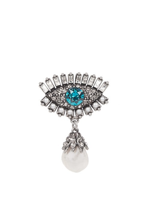 Swarovski Eye Brooch - secondary colour: turquoise; predominant colour: silver; occasions: evening; style: classic; size: standard; material: chain/metal; finish: metallic; embellishment: crystals/glass; season: a/w 2016
