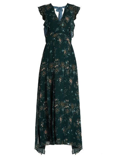 Tie Back Floral Print Georgette Dress - neckline: v-neck; sleeve style: capped; style: maxi dress; length: ankle length; back detail: back revealing; secondary colour: pink; predominant colour: dark green; occasions: evening; fit: soft a-line; fibres: polyester/polyamide - 100%; sleeve length: short sleeve; texture group: sheer fabrics/chiffon/organza etc.; pattern type: fabric; pattern size: standard; pattern: florals; season: a/w 2016; wardrobe: event