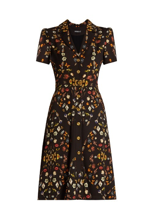Obsession Print Button Down Crepe Dress - style: shift; neckline: v-neck; secondary colour: gold; predominant colour: black; occasions: evening; length: on the knee; fit: soft a-line; fibres: viscose/rayon - 100%; sleeve length: short sleeve; sleeve style: standard; texture group: crepes; pattern type: fabric; pattern size: standard; pattern: patterned/print; multicoloured: multicoloured; season: a/w 2016; wardrobe: event