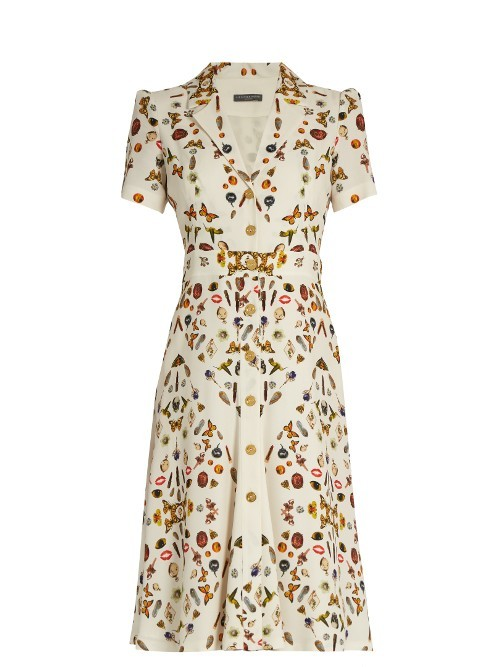 Obsession Print Button Down Crepe Dress - style: shift; neckline: v-neck; predominant colour: ivory/cream; secondary colour: gold; occasions: evening; length: on the knee; fit: soft a-line; fibres: viscose/rayon - 100%; sleeve length: short sleeve; sleeve style: standard; texture group: crepes; pattern type: fabric; pattern size: standard; pattern: patterned/print; multicoloured: multicoloured; season: a/w 2016