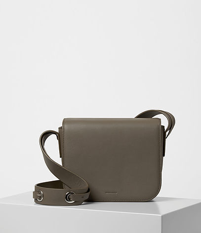 Ikuya Crossbody - predominant colour: khaki; occasions: casual; type of pattern: standard; style: messenger; length: across body/long; size: small; material: leather; pattern: plain; finish: plain; season: a/w 2016