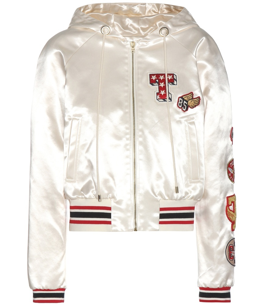 Satin Bomber Jacket With Appliqué - collar: high neck; fit: slim fit; style: bomber; predominant colour: ivory/cream; secondary colour: true red; occasions: casual; length: standard; fibres: polyester/polyamide - 100%; sleeve length: long sleeve; sleeve style: standard; texture group: structured shiny - satin/tafetta/silk etc.; collar break: high; pattern type: fabric; pattern: patterned/print; embellishment: embroidered; multicoloured: multicoloured; season: a/w 2016; wardrobe: highlight