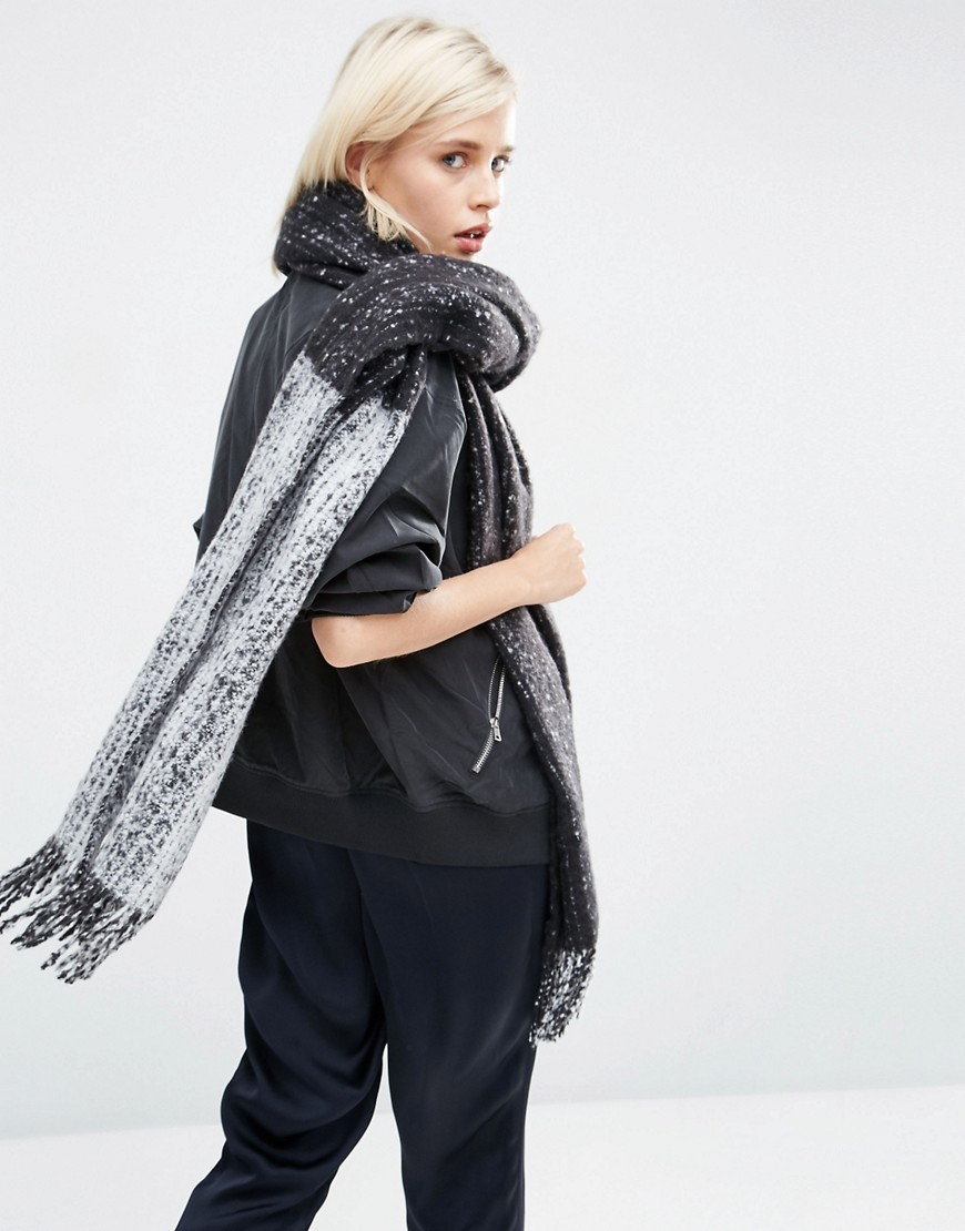 Oversized Long Woven Scarf In Colour Block Boucle Multi - predominant colour: navy; secondary colour: charcoal; occasions: casual; type of pattern: standard; style: regular; size: large; material: knits; embellishment: fringing; pattern: plain; wardrobe: basic; season: a/w 2016